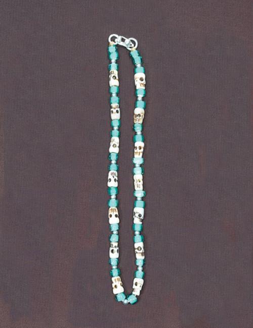 ビーズネックレス スカル ターコイズ 50cm