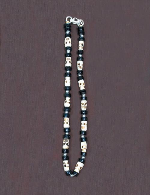 ビーズネックレス スカル 黒 45cm