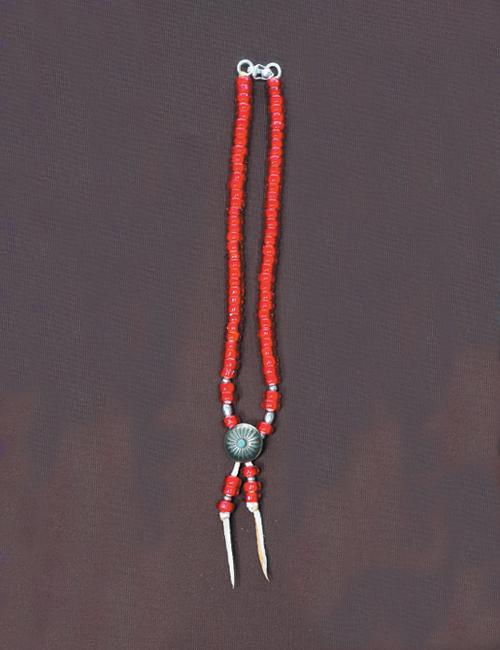 ビーズネックレス コンチョ 赤 40cm
