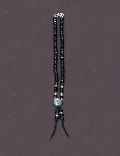 ビーズネックレス コンチョ 黒 40cm
