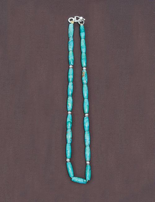 ビーズネックレス ターコイズ オーバルターコイズビーズ 40cm