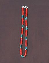 ビーズネックレス 赤 40cm