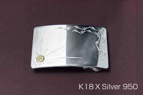 シルバー925 18金 バックル ゴールドトレードマーク
